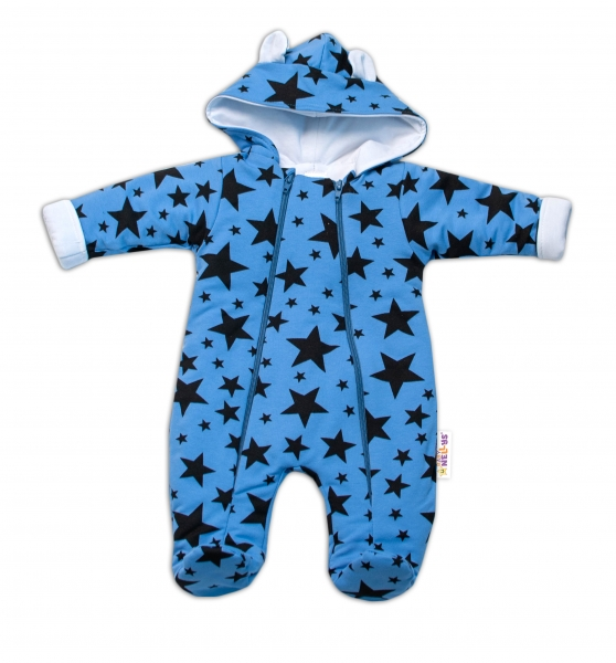 Baby Nellys ® Kombinézka s dvojitým zapínáním, s kapucí a oušky, Stars
