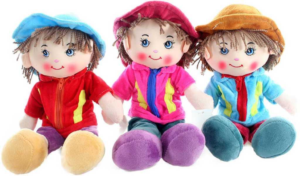 Panáček hadrová panenka 33cm látkový chlapeček s kloboučkem - 3 barvy