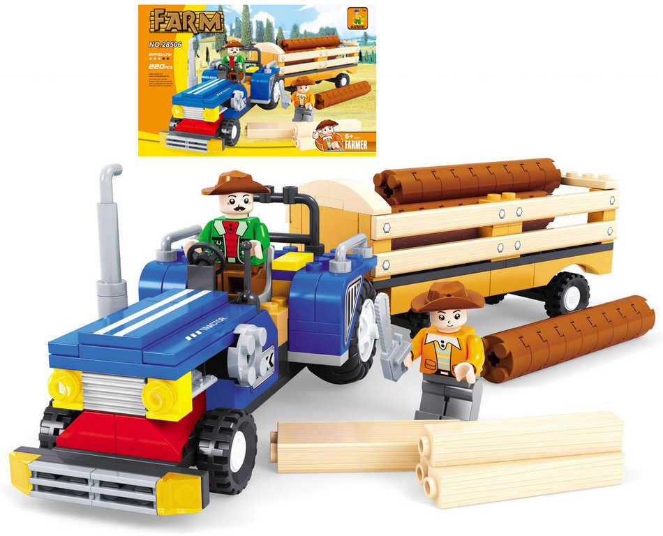AUSINI Stavebnice FARMA traktor s vlečkou 220 dílků + 2 figurky plast