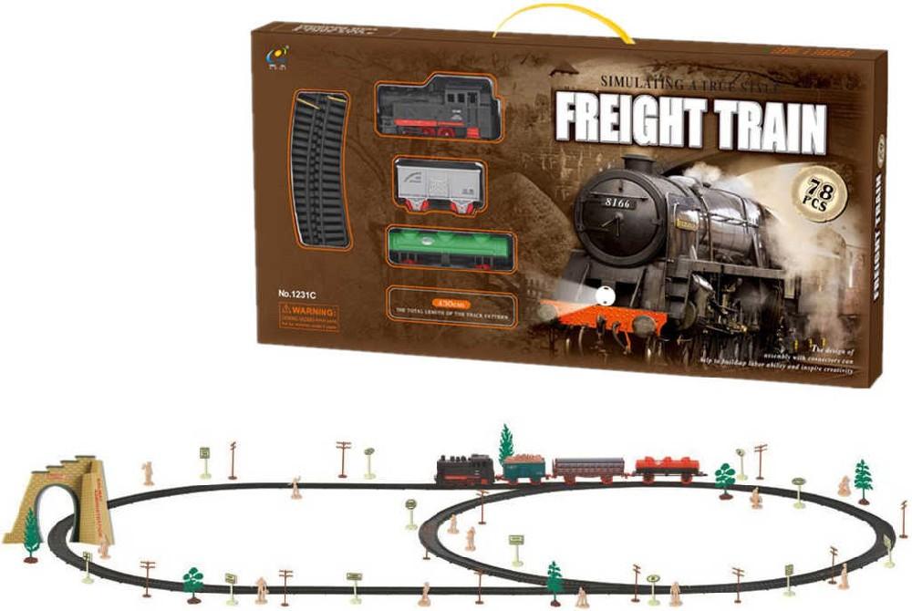 Sada vlaková set vagony nákladní s tratí 430cm na baterie 72ks v krabici