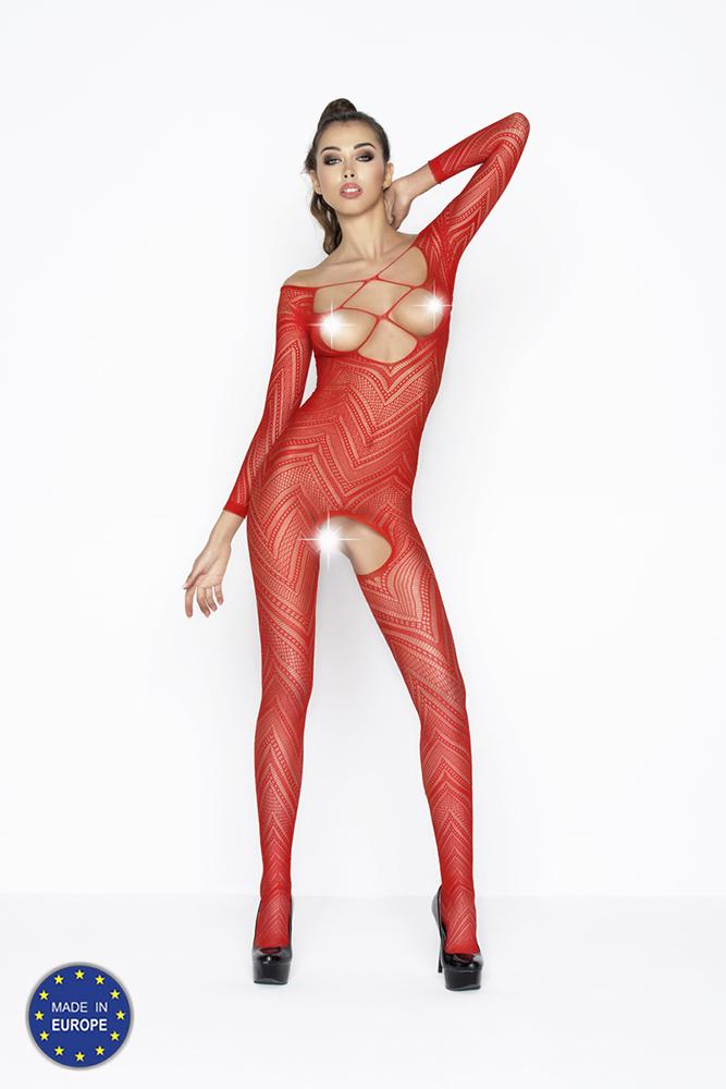 Síťkovaný catsuit s krajkovým vzorem - červený BS040-univerzální