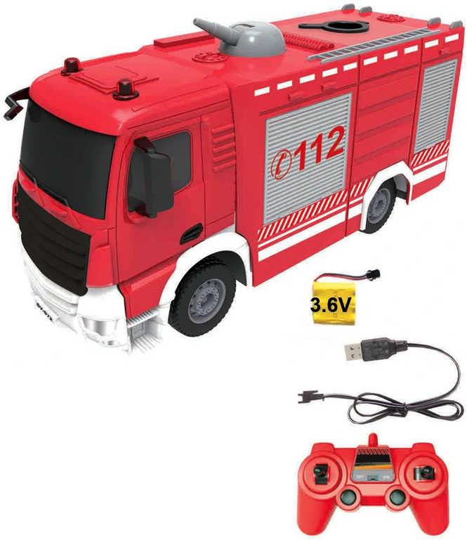 RC Auto hasiči 30cm na vysílačku 2,4GHz funkční vodní dělo na baterie USB