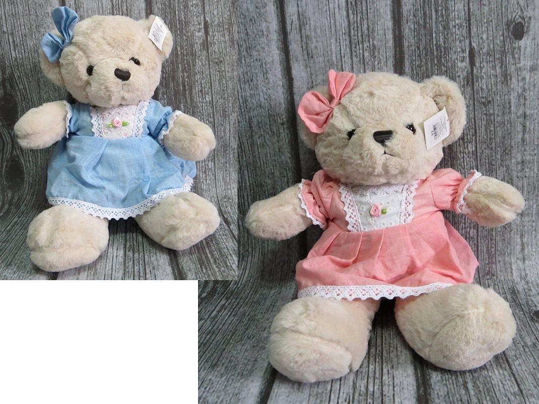 Plyšový medvídek v šatech s mašlí - 40 cm