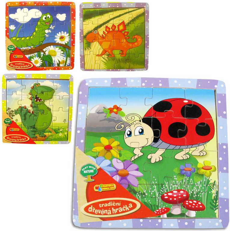DŘEVO Puzzle 15x15cm zvířátka v rámečku 6 druhů 12 dílků