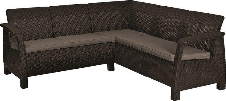 CORFU RELAX rohová moderní sofa hnědá + šedohnědé podušky