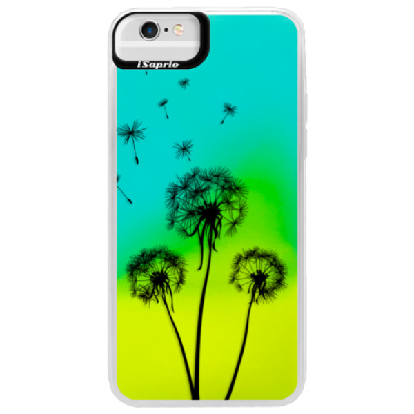 Neonové pouzdro Blue iSaprio - Three Dandelions - black - iPhone 6 Plus/6S Plus