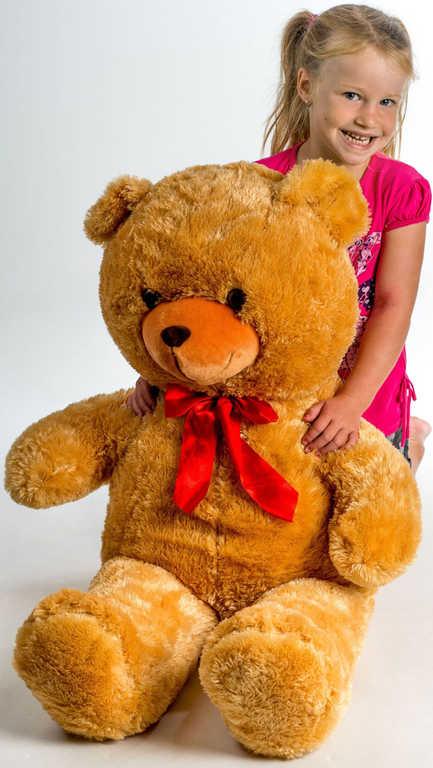 PLYŠ Medvěd velký 100cm světle hnědý s mašlí *PLYŠOVÉ HRAČKY*