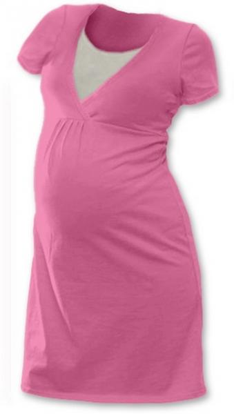JOŽÁNEK Těhotenská, kojící noční košile JOHANKA krátký rukáv - růžová - L/XL