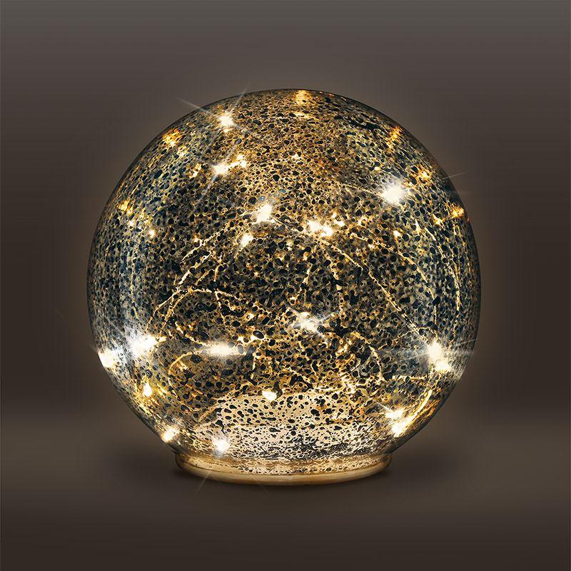 Solight LED skleněná vánoční koule, 20LED, měděná struktura, 3x AAA