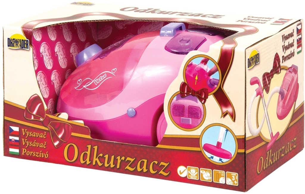 DROMADER Vysavač dětský růžový 25cm na baterie Světlo Zvuk
