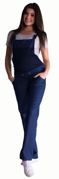 Be MaaMaa Těhotenské kalhoty s láclem - tmavý