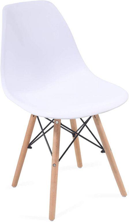 Sada jídelních židlí s plastovým sedákem, 2 kusy, bílé