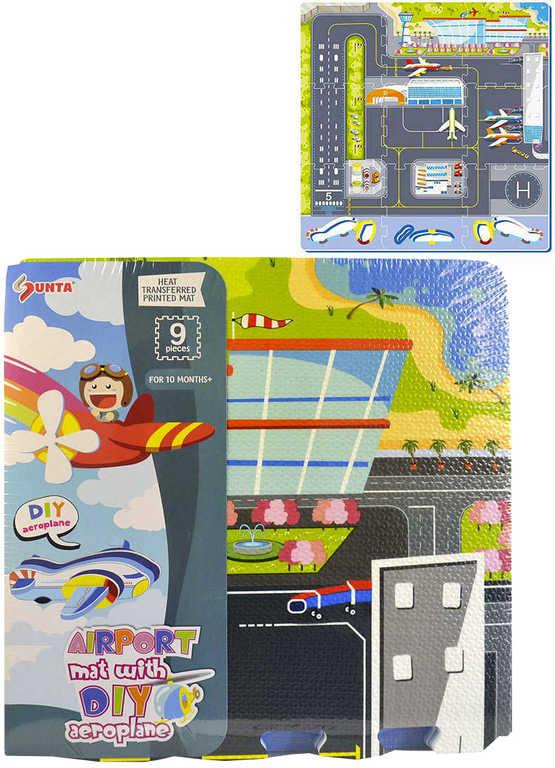 Baby puzzle pěnový koberec na zem letiště 92x92cm set 9ks měkké bloky