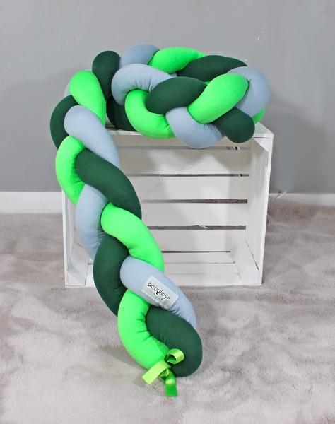 Mantinel Babylove pletený cop - tm. zelená, zelená, šedá - 200x16