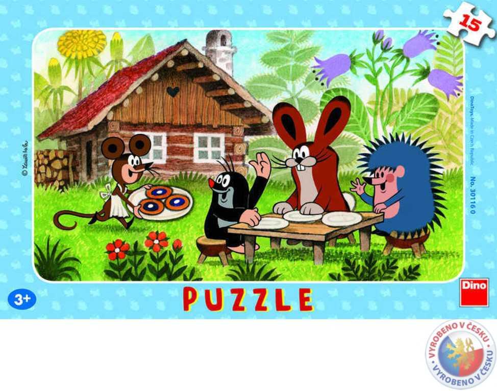 DINO Puzzle KRTEK (Krteček) na návštěvě deskové 15 dílků