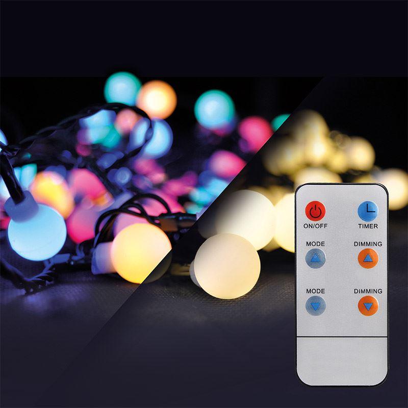 Solight LED 2v1 venkovní vánoční řetěz, koule, dálkový ovladač, 200LED, RGB+bílá, 20m+5m, 8 funkcí, IP44
