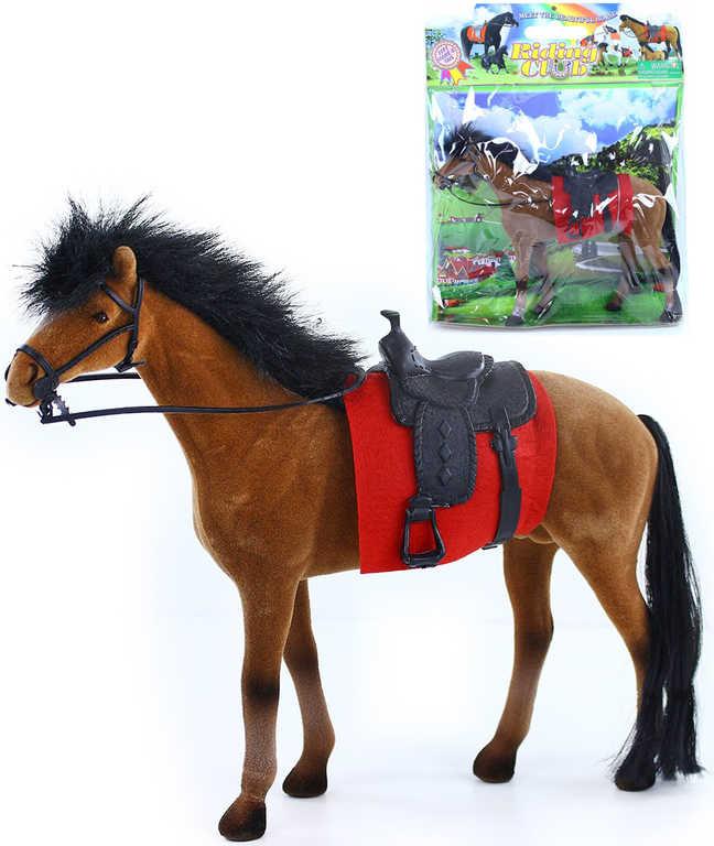 Kůň fliškový se sedlem hnědo-černý 32cm flíska v sáčku