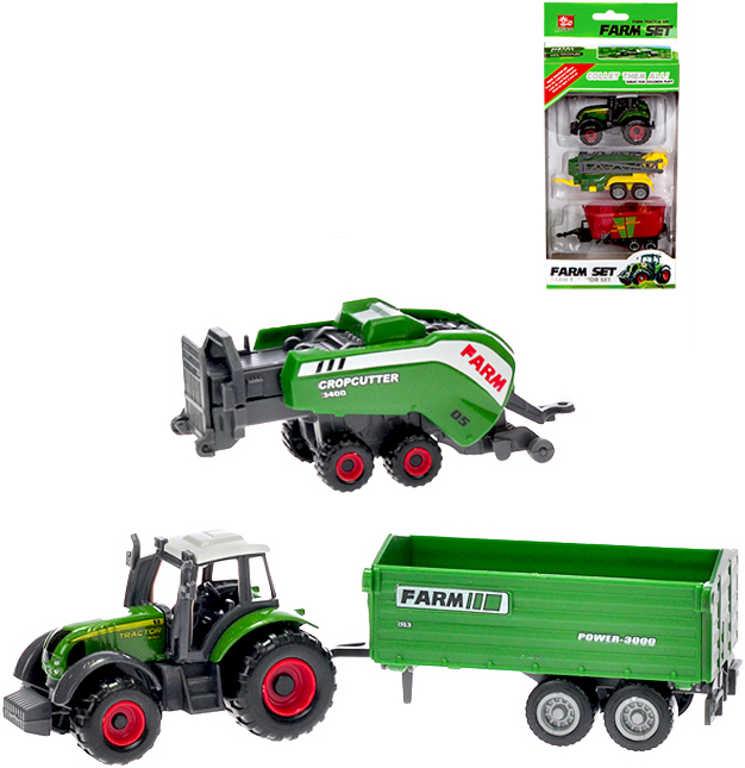 Set traktor kovový model 8cm + 2 vlečky 2 druhy volný chod v krabičce