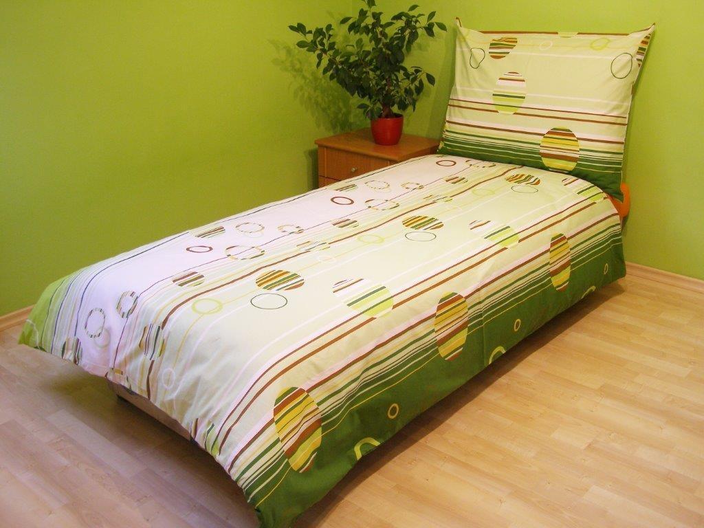 Prodloužené povlečení bavlna 140x220, 70x90cm Kruhy zelené, Výběr zapínání: - hotelový uzávěr