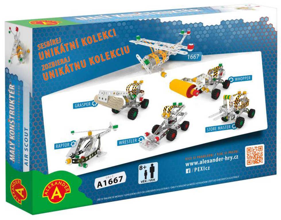 ALEXANDER Malý konstruktér Letadlo konstrukční STAVEBNICE 129 dílků kov