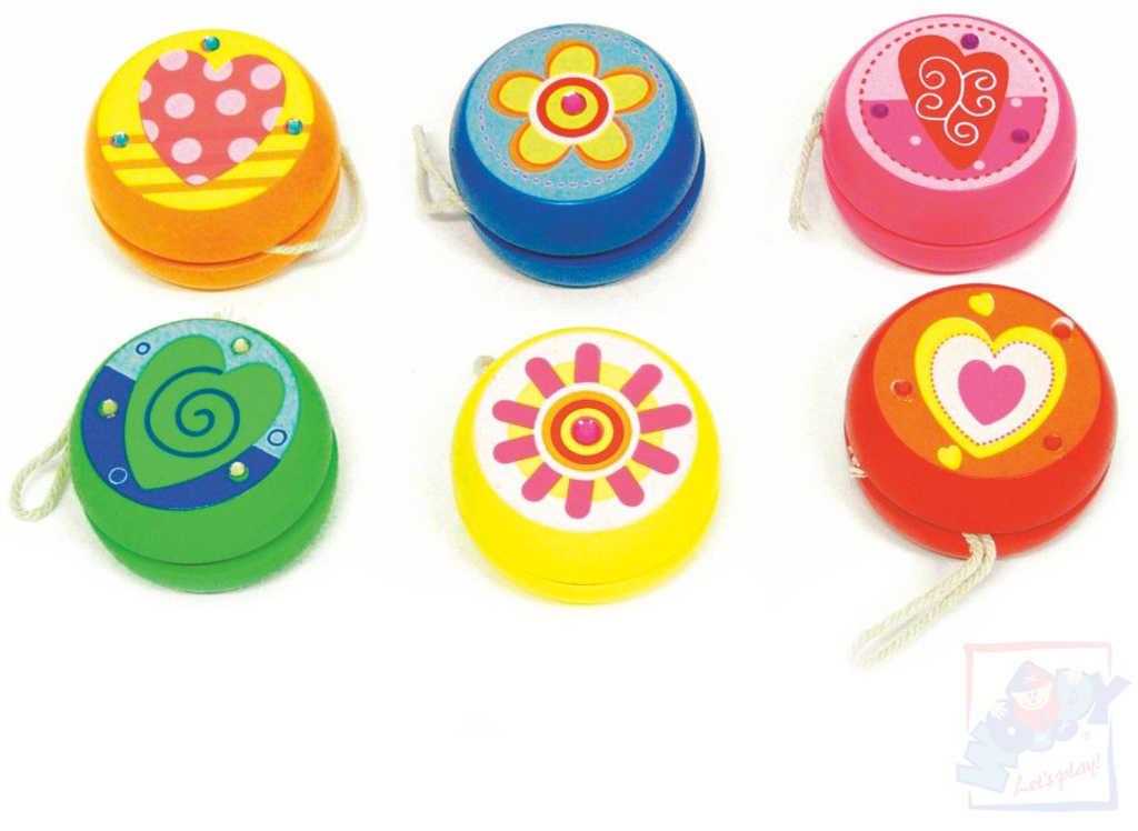 WOODY DŘEVO Hra Jo jo (jo-jo) barevné různé barvy *DŘEVĚNÉ HRAČKY*