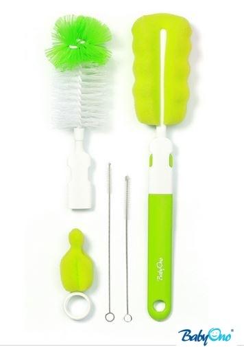 BabyOno Sada štětek/kartáčů k mytí lahviček - zelené
