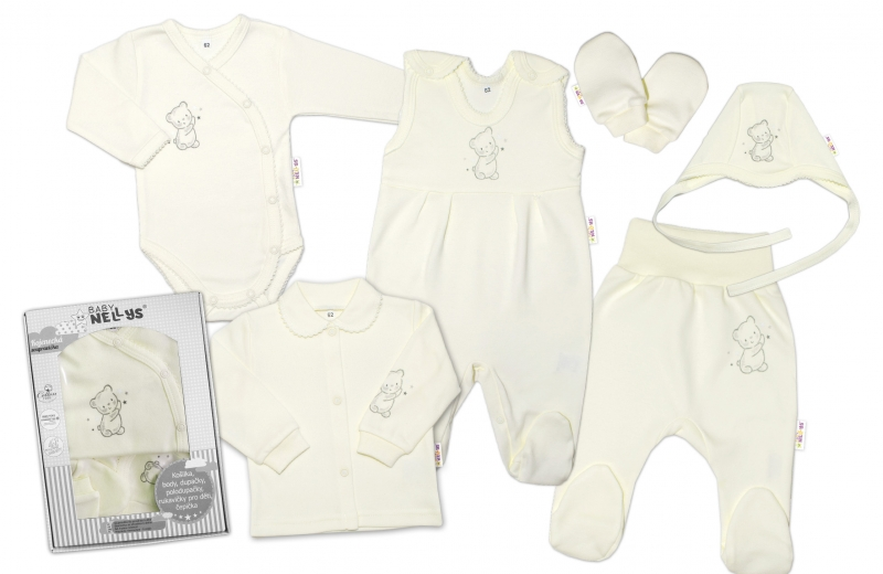baby-nellys-velka-sada-do-porodnice-teddy-6-ti-dilna-v-krabicce-kremova-50-0-1m