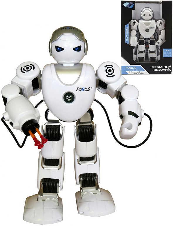 RC Robot Fobos 40cm na baterie USB mluví střílí tančí 2,4GHz na vysílačku Světlo Zvuk