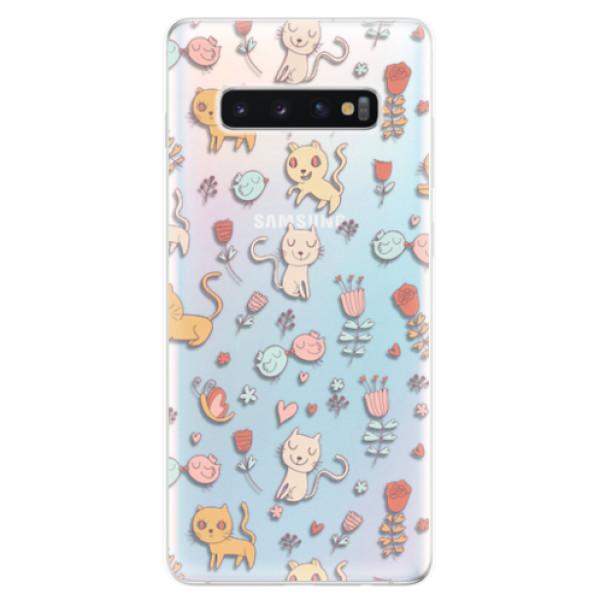Odolné silikonové pouzdro iSaprio - Cat pattern 02 - Samsung Galaxy S10+