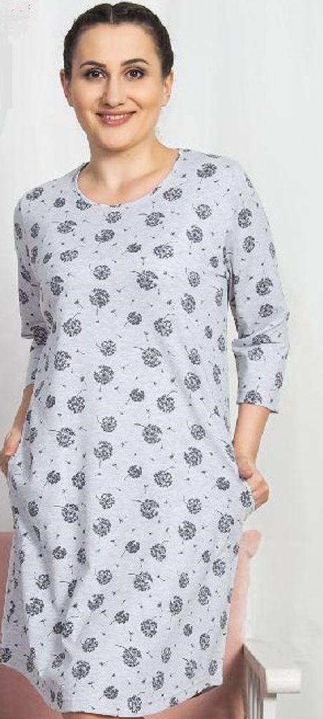 Dámské domácí šaty s tříčtvrtečním rukávem Pampeliška - světle šedá
