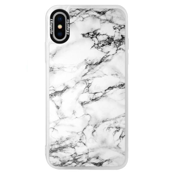 Neonové pouzdro Blue iSaprio - White Marble 01 - iPhone XS