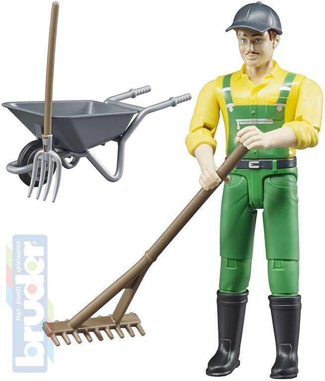 BRUDER 62610 Figurka zemědělec 11cm set s kolečky a nářadím plast
