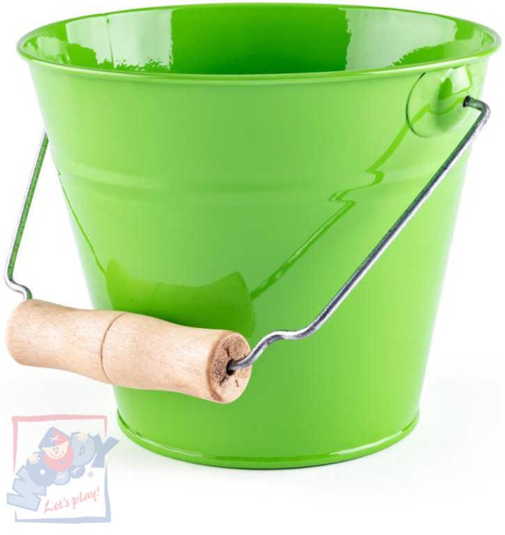 WOODY Kyblík dětský zahradní zelený kov 15cm dřevěná rukojeť
