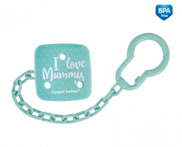 Canpol babies Řetízek na dudlík I Love Mummy - mátový