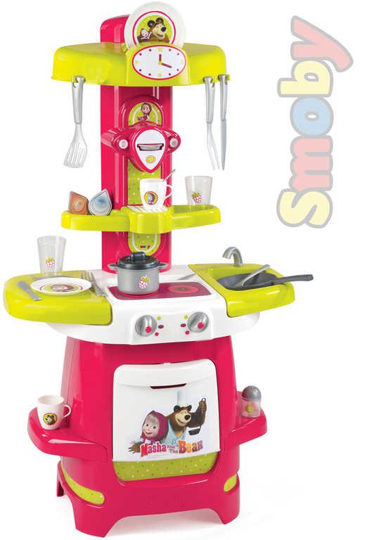 SMOBY Dětská plastová kuchyňka Máša a medvěd set s nádobím a doplňky