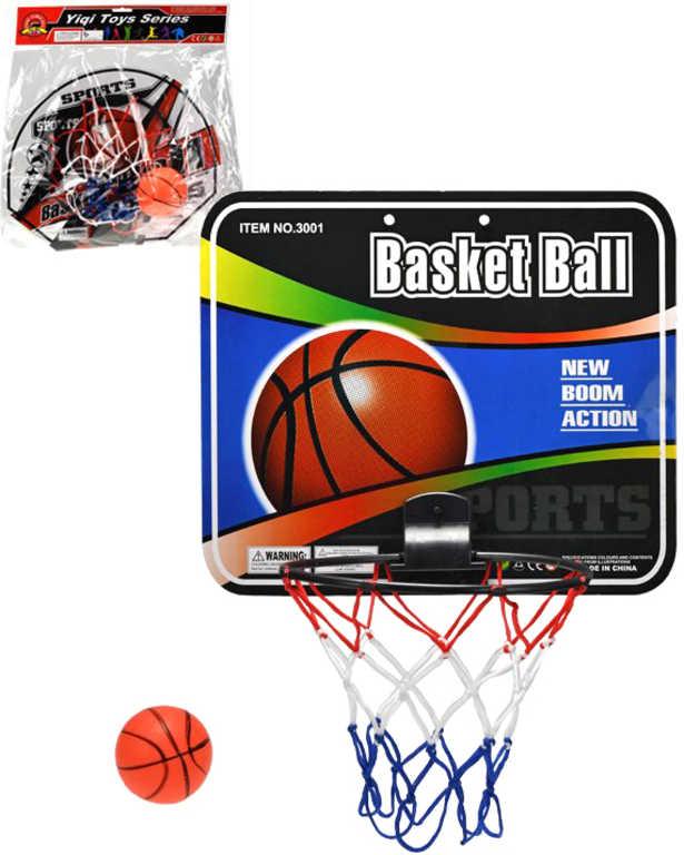 Koš basketbalový na košíkovou set s míčem 9cm různé druhy trikolora v sáčku