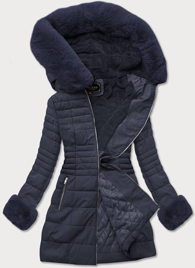 Tmavě modrá dámská zimní bunda z ekokůže (5521BIG)