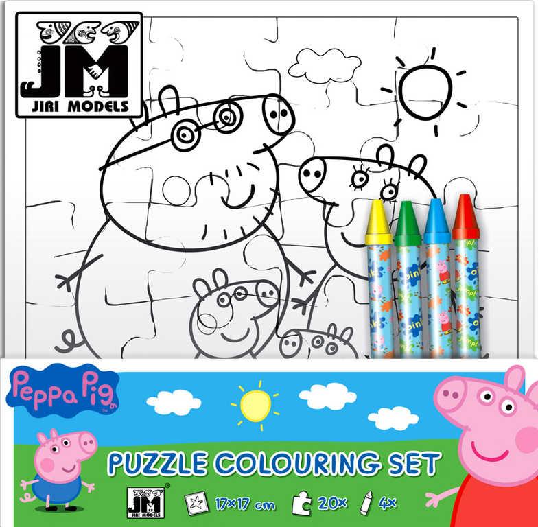 JIRI MODELS Omalovánky puzzle s voskovkami prasátko Peppa Pig