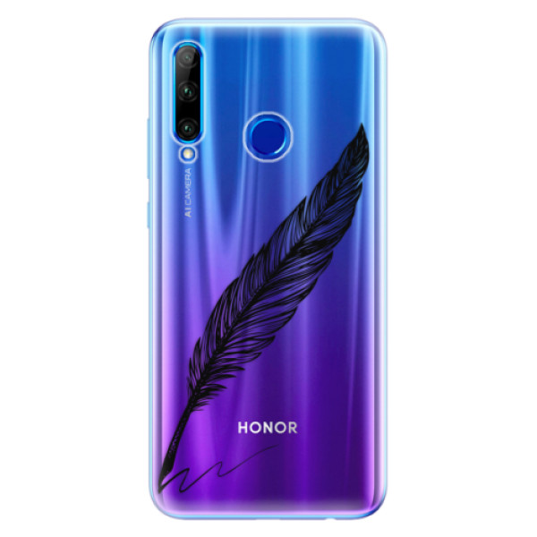 Odolné silikonové pouzdro iSaprio - Writing By Feather - black - Huawei Honor 20 Lite