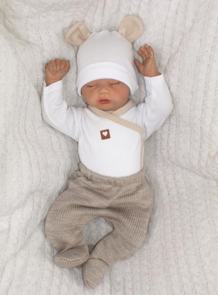 Z&Z 5-dílná kojenecká soupravička pletená do porodnice - béžová