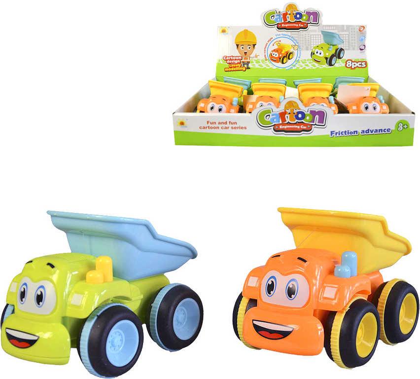 Baby autíčko veselé stavební s očima sklápěčka na setrvačník různé barvy