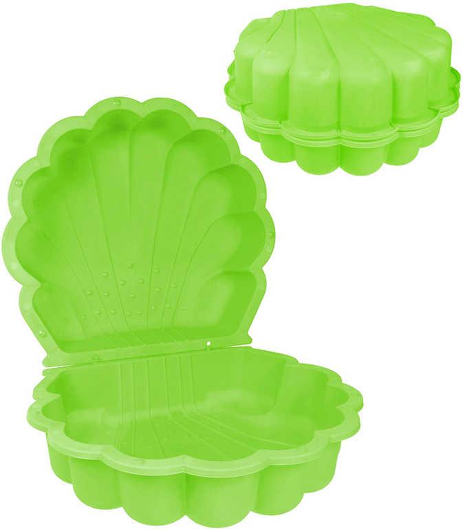 Pískoviště baby bazének mušle 87x78cm s víkem 2v1 zelené plast