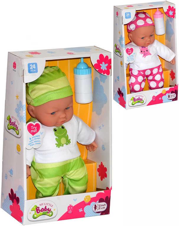 Miminko v oblečku mluvící panenka 31cm set s lahvičkou na baterie Zvuk 4 druhy