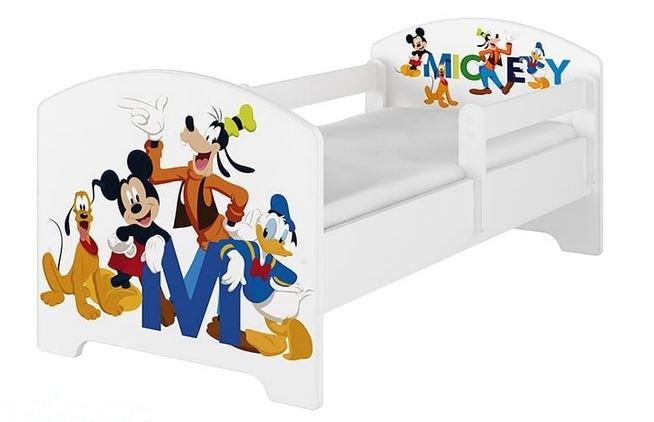 BabyBoo Dětská postel Disney - Mickey s kamarády - bílá, s matrací - 140x70