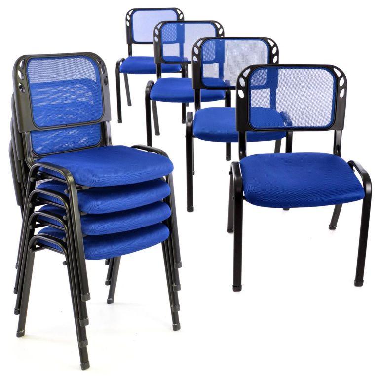 Sada stohovatelných židlí - 8 ks, modrá