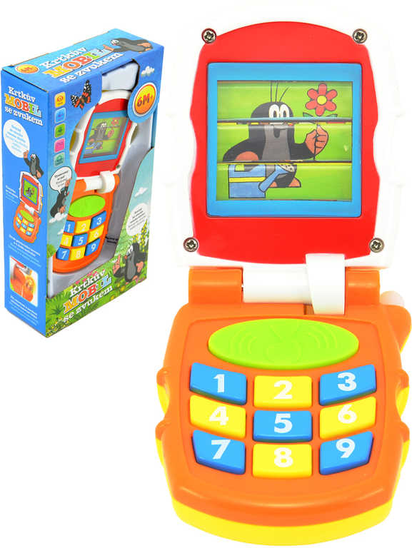 Krtkův mobil telefon dětský mění obrázky Krtek (Krteček) na baterie Světlo Zvuk