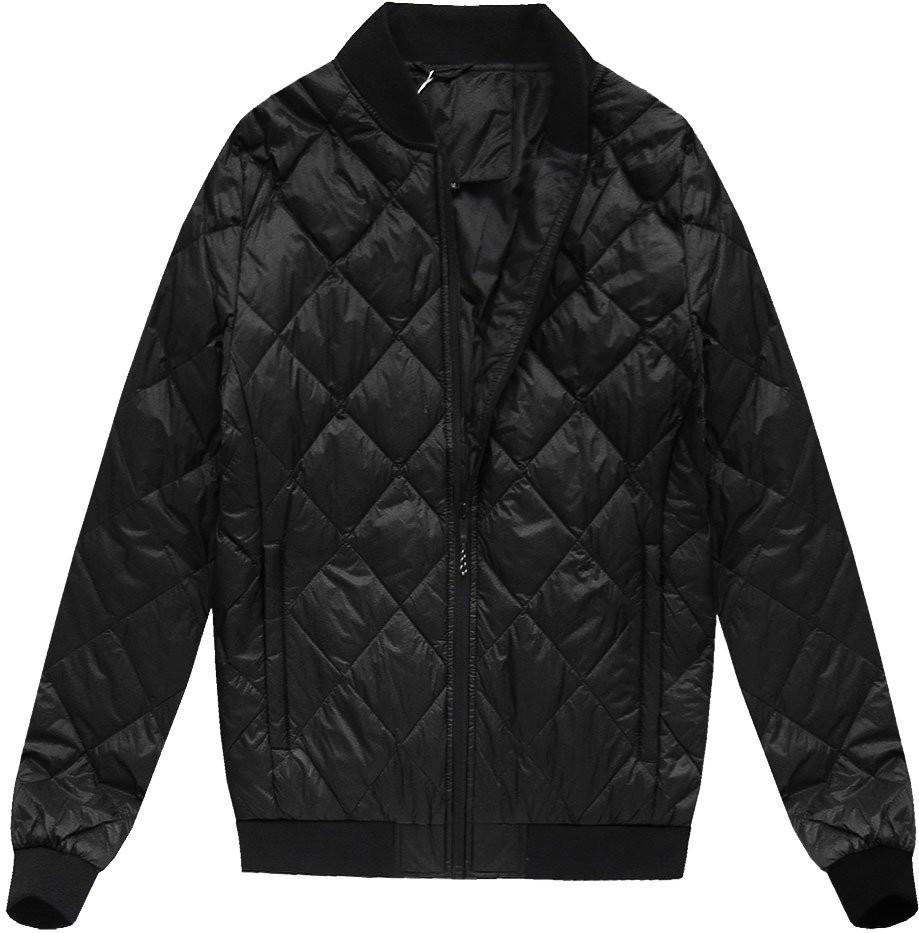 Černá pánská bunda s přírodní vycpávkou (5022)