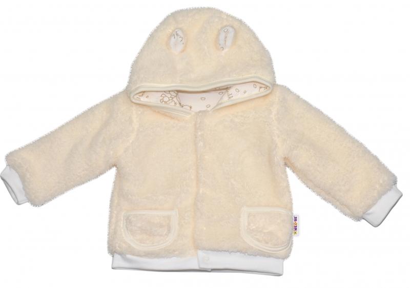 Chlupáčkový kabátek, mikinka Baby Nellys ® - smetanový - vel. 98 - 98 (24-36m)