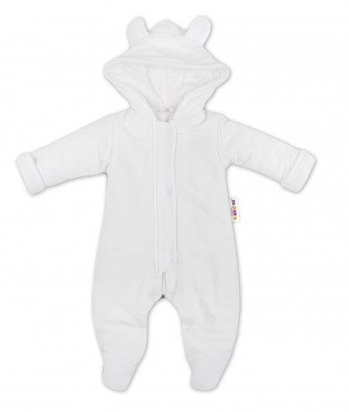 Oteplený overálek/kombinézka s kapuci a oušky Baby Nellys ® - bílý - 74 (6-9m)