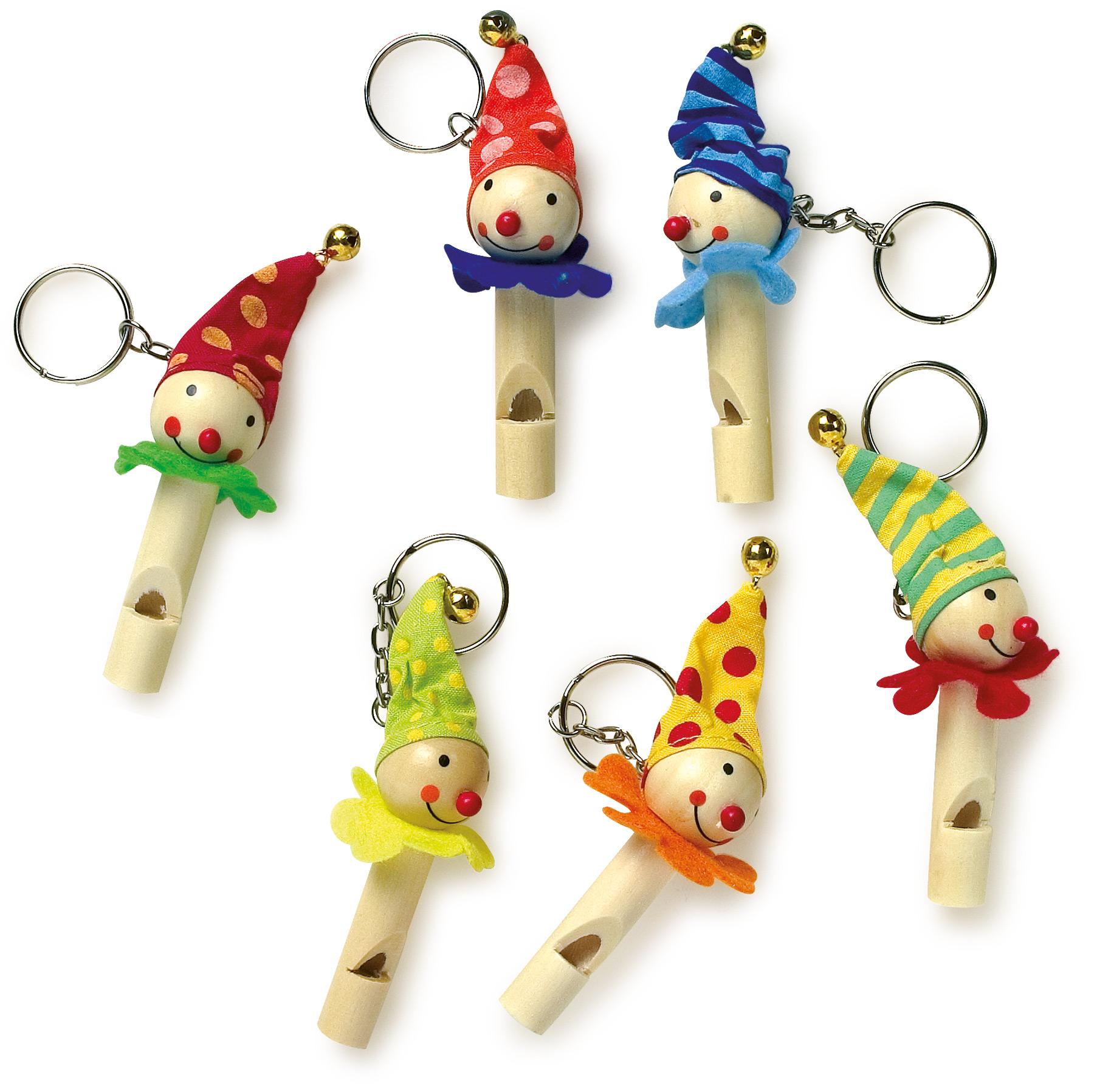 Small Foot Dřevěné přívěšky na klíče píšťalka,klauni sada 6 ks